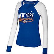 adidas Women's New York Islanders Elbow Patch Royal V-Neck Long Sleeve Shirt