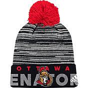 adidas Men's Ottawa Senators Locker Room Black Pom Knit Beanie