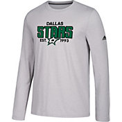 adidas Men's Dallas Stars Go-To Established Grey Performance Long Sleeve Shirt