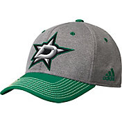 adidas Men's Dallas Stars Two-Color Heather Grey/Green Snapback Adjustable Hat