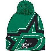 adidas Men's Dallas Stars Logo Green Pom Knit Beanie