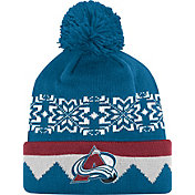 adidas Men's Colorado Avalance Ugly Sweater Blue Pom Knit Beanie