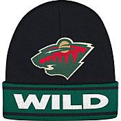 adidas Men's Minnesota Wild Logo Black Knit Beanie