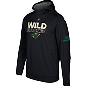 adidas Men's Minnesota Wild Authentic Pro Player Black Performance Pullover Hoodie