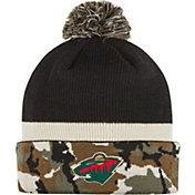 adidas Men's Minnesota Wild Logo Camo Pom Knit Beanie