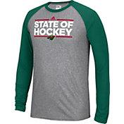 adidas Men's Minnesota Wild Dassler Local Ultimate Grey/Green Performance Long Sleeve Shirt