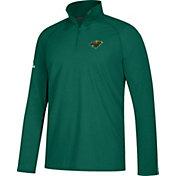 adidas Men's Minnesota Wild Secondary Logo Ultimate Green Performance Quarter-Zip Pullover