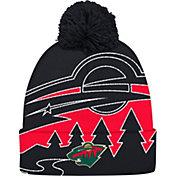 adidas Men's Minnesota Wild Logo Black Pom Knit Beanie