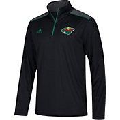 adidas Men's Minnesota Wild Black Performance Quarter-Zip Jacket