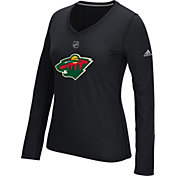 adidas Women's Minnesota Wild Primary Position Black Performance V-Neck Long Sleeve Shirt