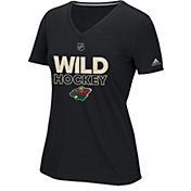 adidas Women's Minnesota Wild Authentic Ice Ultimate Black Performance V-Neck T-Shirt