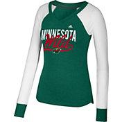 adidas Women's Minnesota Wild Elbow Patch Green V-Neck Long Sleeve Shirt
