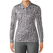 adidas Women's 3-Stripes Long Sleeve Printed UPF Golf Polo