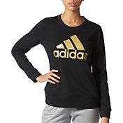adidas Women's Badge Of Sport Foil Crew Long Sleeve Shirt