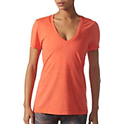 adidas Women's Fleck-Print Deep V-Neck T-Shirt