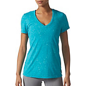adidas Women's Fleck-Print Deep V-Neck T-Shirt