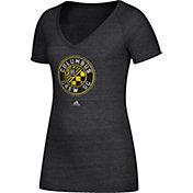 adidas Women's Columbus Crew Logo Black Heathered V-Neck T-Shirt
