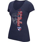 adidas Women's FC Dallas Navy V-Neck Slub T-Shirt