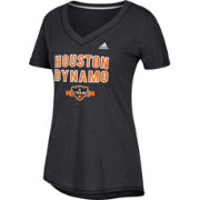 adidas Women's Houston Dynamo Bold Black Heathered Arch V-Neck T-Shirt