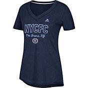 adidas Women's New York City FC Bold Navy Heathered Arch V-Neck T-Shirt