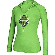 adidas Women's Seattle Sounders Green Long Sleeve Hooded T-Shirt