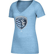 adidas Women's Sporting Kansas City Logo Blue Heathered V-Neck T-Shirt