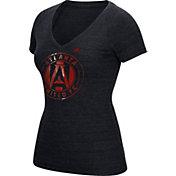 adidas Women's Atlanta United War Paint Black Heathered V-Neck T-Shirt