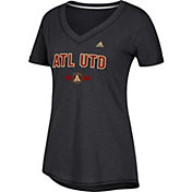 adidas Women's Atlanta United Bold Black Heathered Arch V-Neck T-Shirt