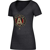 adidas Women's Atlanta United Logo Black Heathered V-Neck T-Shirt