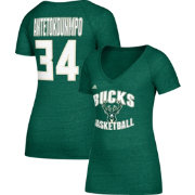 adidas Women's Milwaukee Bucks Giannis Antetokounmpo #34 Green Tri-Blend V-Neck T-Shirt