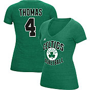 adidas Women's Boston Celtics Isaiah Thomas #4 Kelly Green Tri-Blend V-Neck T-Shirt