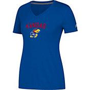 adidas Women's Kansas Jayhawks Blue Ultimate V-Neck Performance T-Shirt