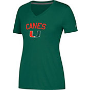 adidas Women's Miami Hurricanes Green Ultimate V-Neck Performance T-Shirt