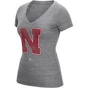 adidas Women's Nebraska Cornhuskers Grey V-Neck T-Shirt
