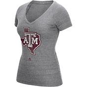 adidas Women's Texas AM Aggies Grey V-Neck T-Shirt