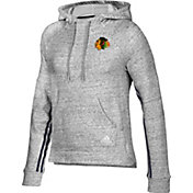adidas Women's Chicago Blackhawks Team Stitch Heather Grey Pullover Hoodie