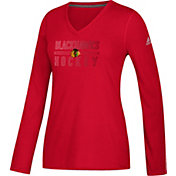 adidas Women's Chicago Blackhawks Gradient Ultimate Red Performance V-Neck Long Sleeve Shirt