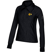 adidas Women's Chicago Blackhawks Logo Black Performance Quarter-Zip Pullover