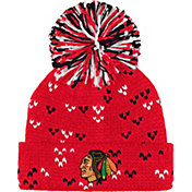 adidas Women's Chicago Blackhawks Red Cuff Pom Knit Beanie