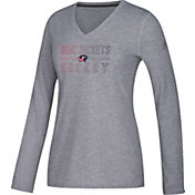 adidas Women's Columbus Blue Jackets Gradient Ultimate Heather Grey Performance V-Neck Long Sleeve Shirt