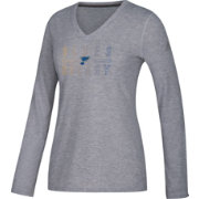 adidas Women's St. Louis Blues Gradient Ultimate Heather Grey Performance V-Neck Long Sleeve Shirt