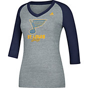 adidas Women's St. Louis Blues Bling Blue 3/4 Sleeve V-Neck Shirt