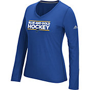 adidas Women's St. Louis Blues Local Dassler Royal Performance V-Neck Long Sleeve Shirt