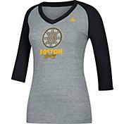 adidas Women's Boston Bruins Bling Heather Grey/Black 3/4 Sleeve V-Neck Shirt