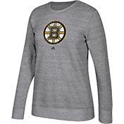adidas Women's Boston Bruins Distressed Logo Heather Grey Sweatshirt