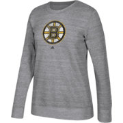 adidas Women's Boston Bruins Distressed Logo Heather Grey Sweatshirt