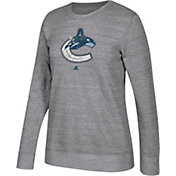adidas Women's Vancouver Canucks Distressed Logo Heather Grey Sweatshirt