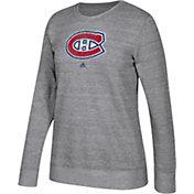 adidas Women's Montreal Canadiens Distressed Logo Heather Grey Sweatshirt