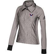 adidas Women's Washington Capitals Logo Grey Performance Quarter-Zip Pullover