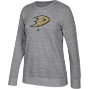 adidas Women's Anaheim Ducks Distressed Logo Heather Grey Sweatshirt